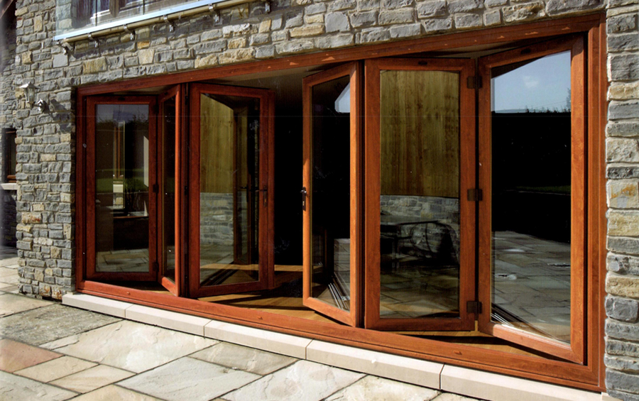Folding doors leading into the garden